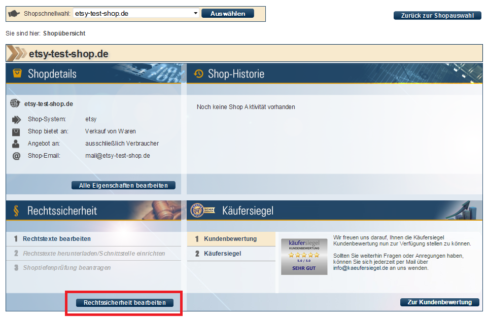 Screenshot der Shopdetails